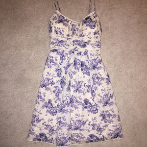 Floral Cream and Periwinkle Dress